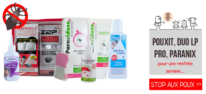 Traitement anti-poux et lentes : parasidose, paranix, duo lp pro, pouxit