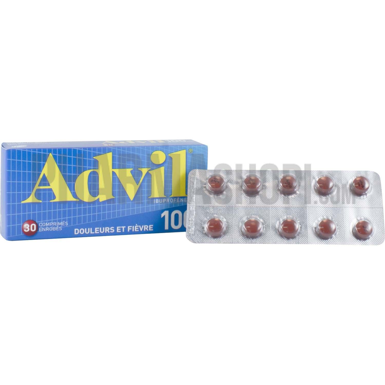advil 100mg 30 comprim s enrob s. Black Bedroom Furniture Sets. Home Design Ideas