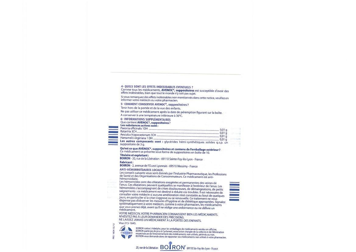 Boiron : Avenoc hémorroïdes suppositoires Boiron, boite de