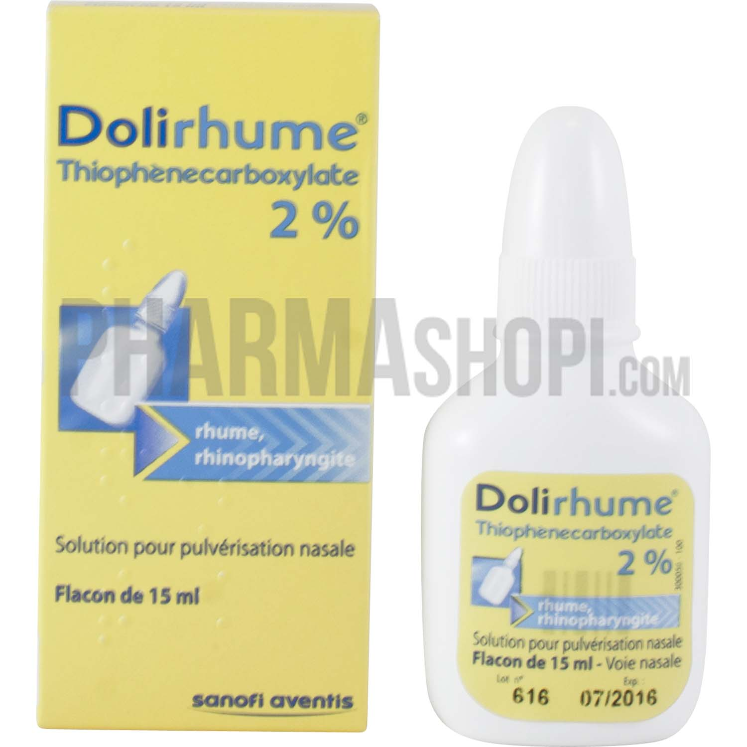 Dolirhume thiophenecarboxylate 2% solution pour