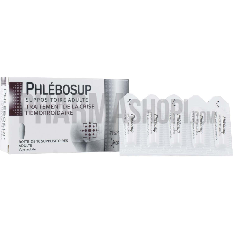 Phlebosup suppositoire, boite de 10 suppositoires