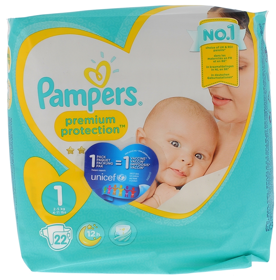 couche pampers premium protection taille 1 22 couches
