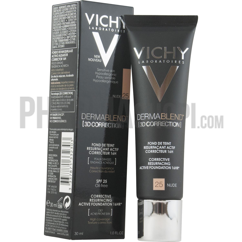 Dermablend 3d Correction Fond De Teint Resurfaçant Nude 25 Vichy Tube De 30 Ml