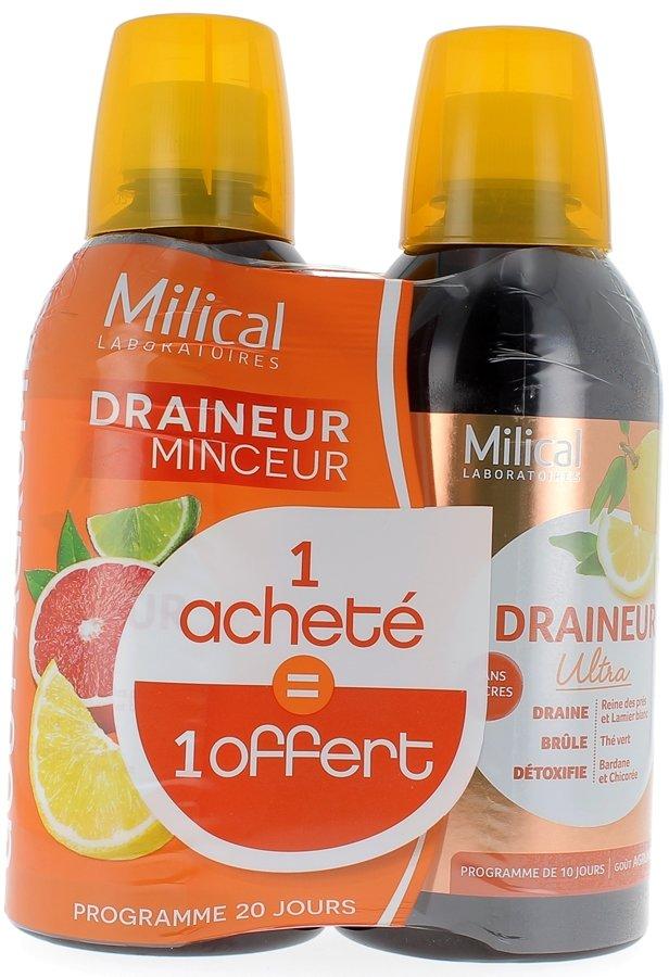 Draineur Minceur Ultra sans sucres goût agrumes Milical