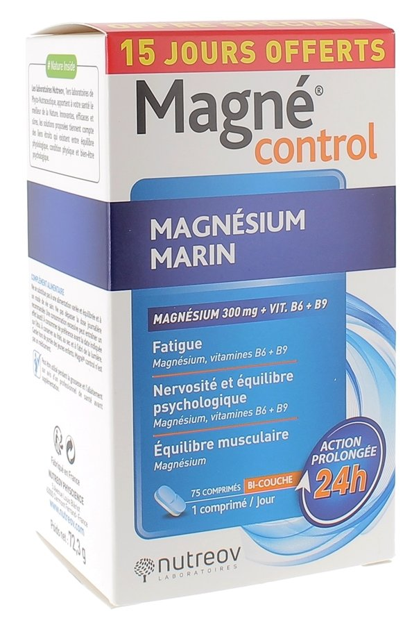 Magné control magnésium marin Nutreov, boîte de 75 comprimés