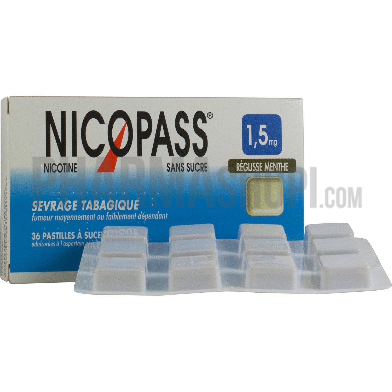 Nicopass menthe réglisse 1,5mg - boite de 36 pastilles