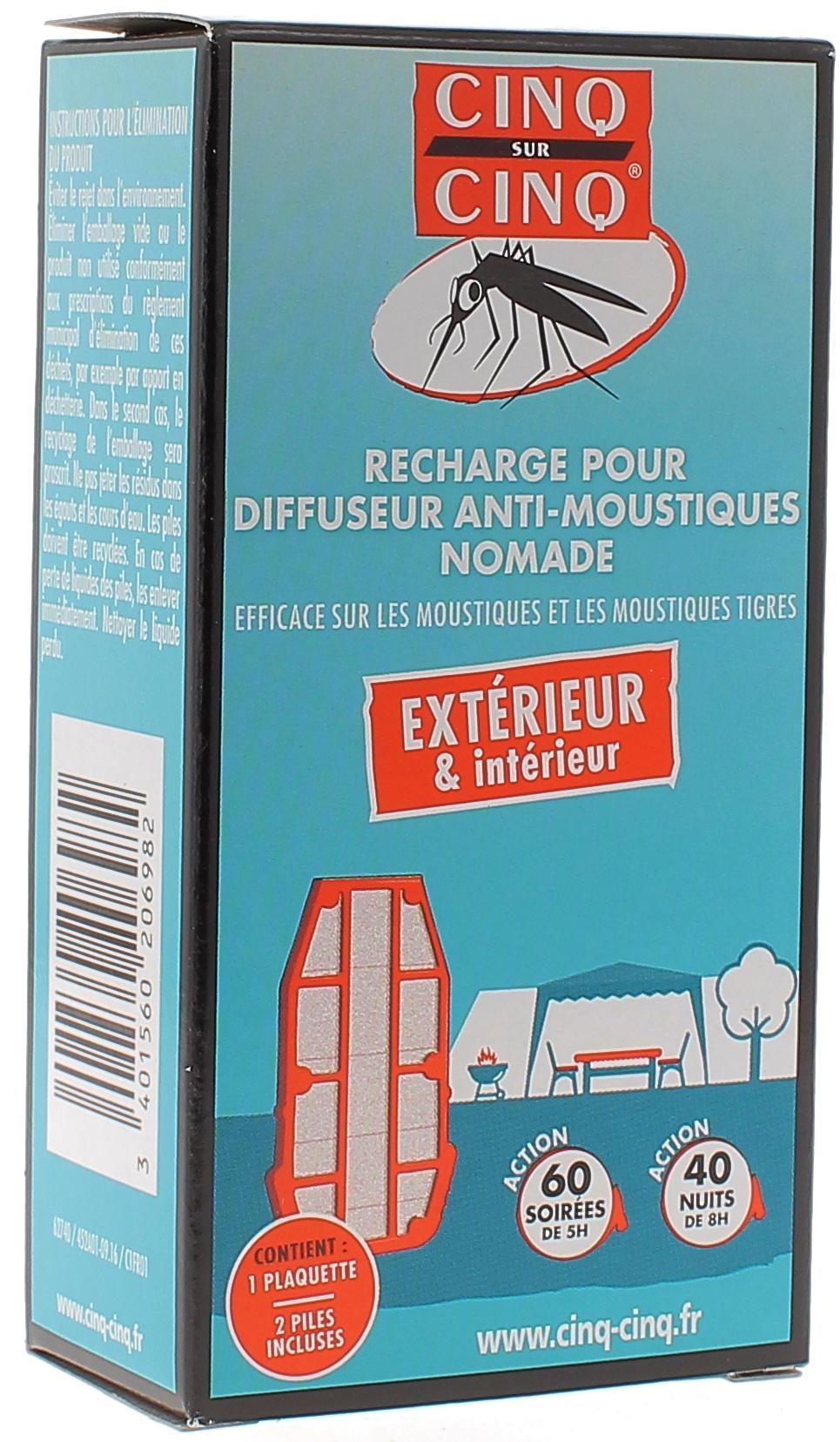 recharge pour diffuseur anti moustiques nomade cinq sur cinq 1 plaquettes piles. Black Bedroom Furniture Sets. Home Design Ideas