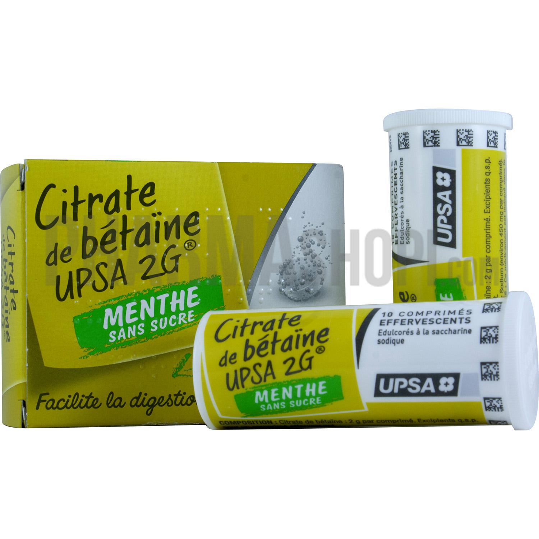 Citrate de bétaine 2g menthe UPSA digestion difficile ~ Citrate De Betaine Gueule De Bois