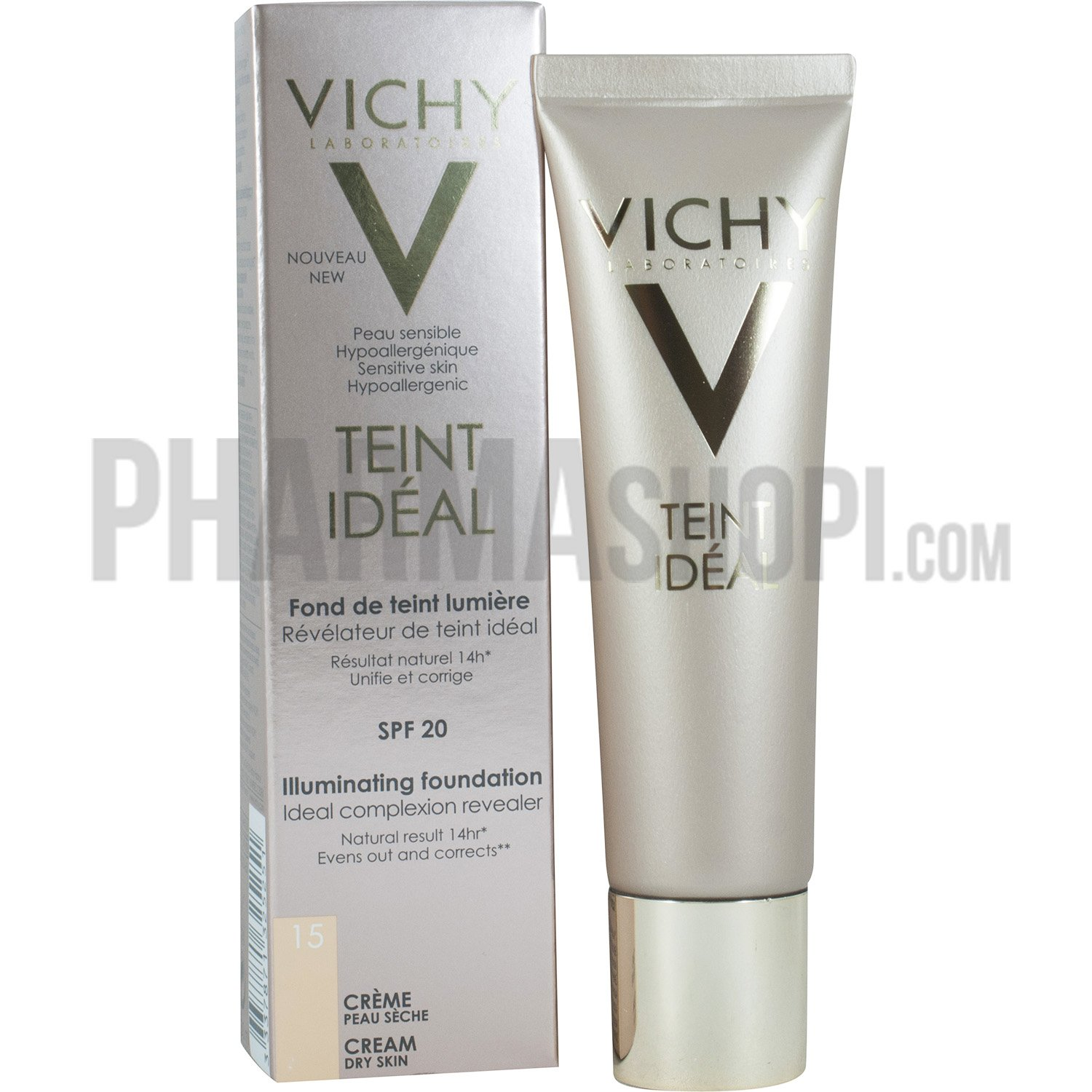 teint id al cr me fond de teint lumi re spf 20 teinte 15 clair vichy tube de 30 ml. Black Bedroom Furniture Sets. Home Design Ideas