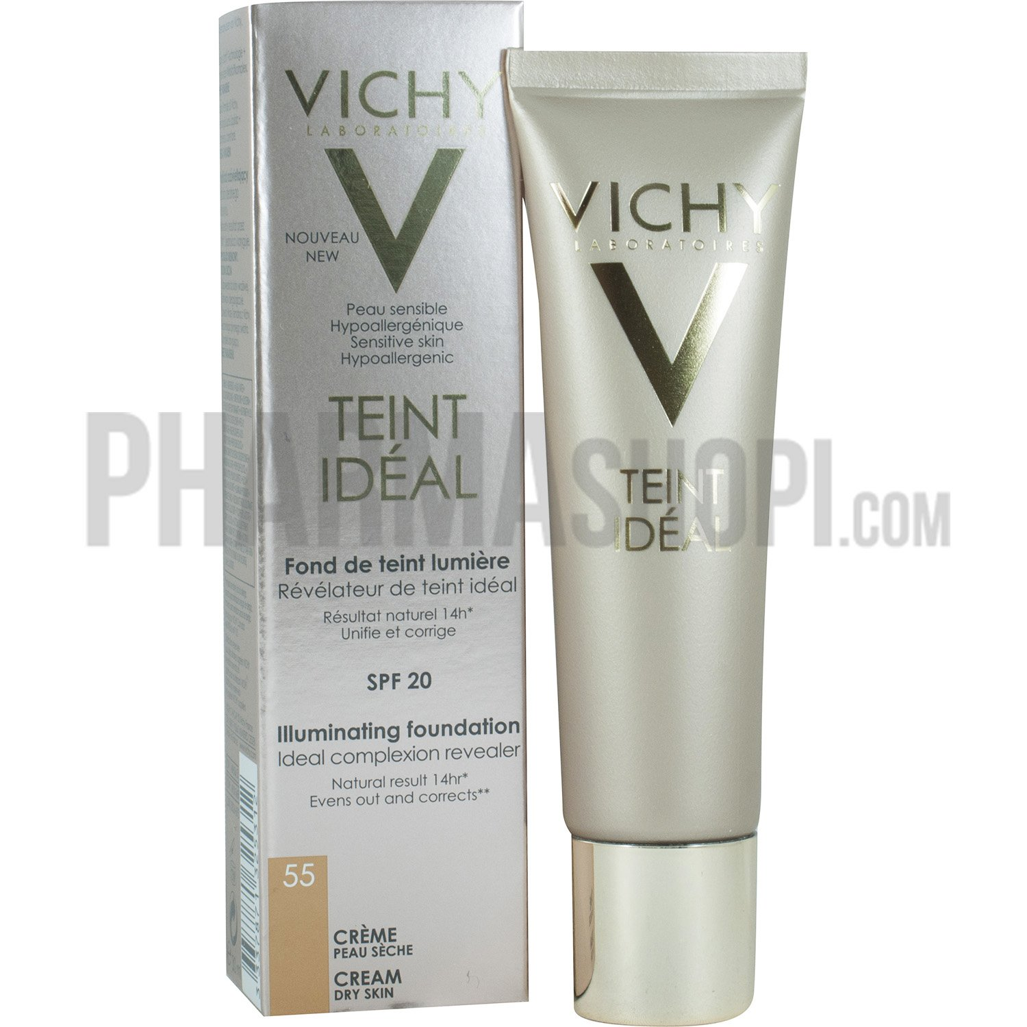 teint id al cr me fond de teint lumi re spf 20 teinte 55 h l vichy tube de 30 ml. Black Bedroom Furniture Sets. Home Design Ideas