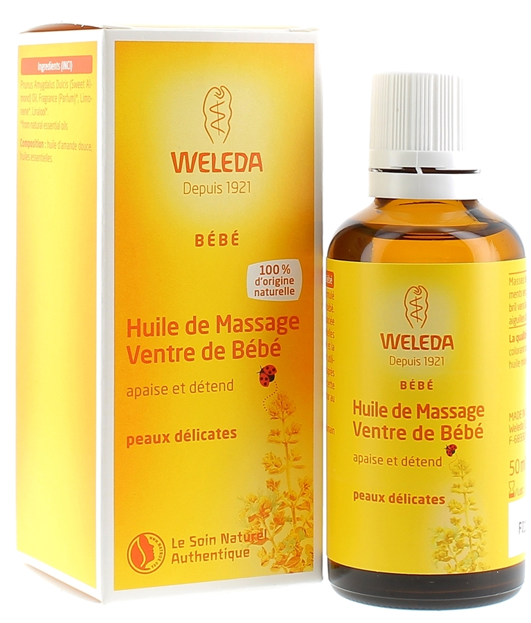 Weleda : Huile de massage ventre de bébé Weleda, flacon de