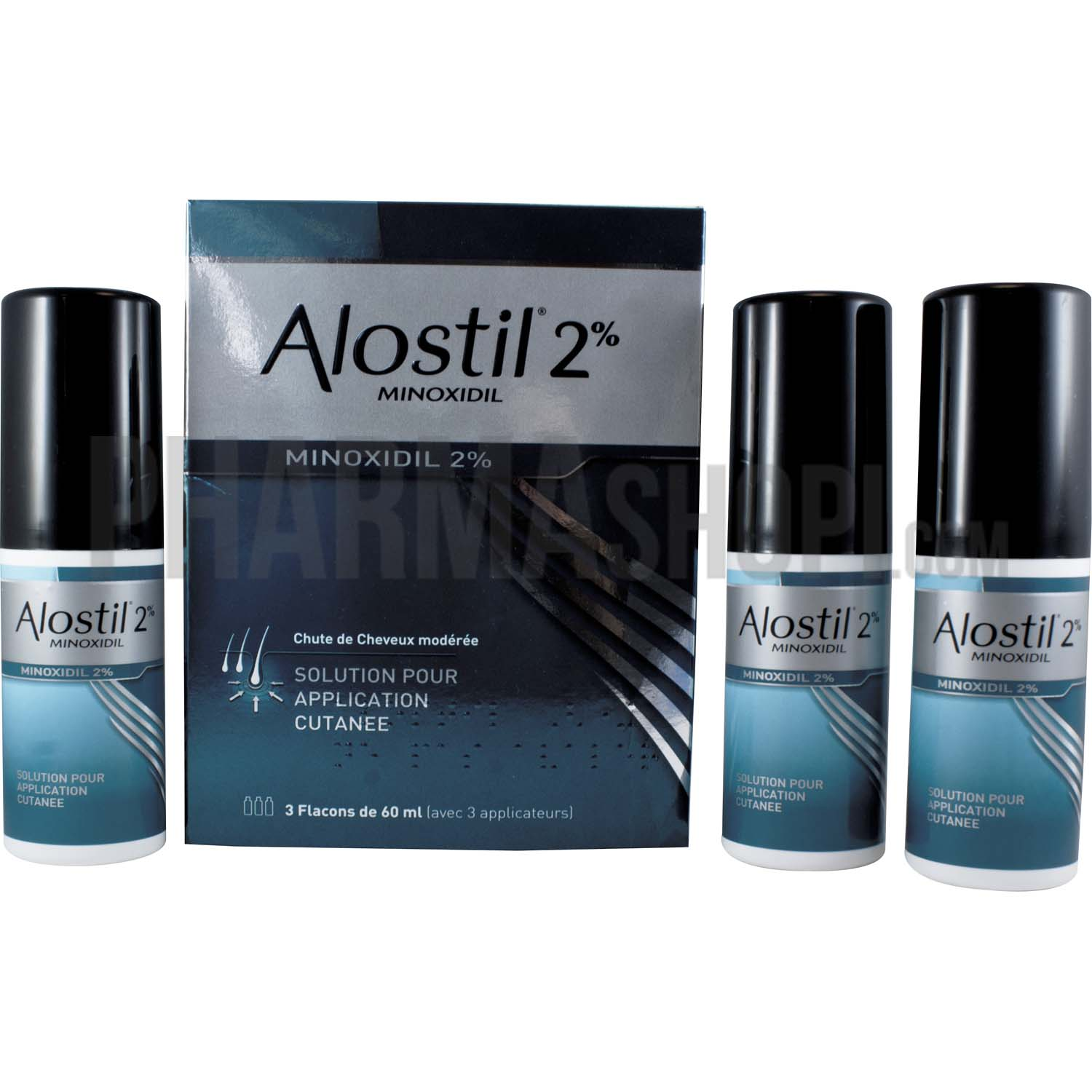 alostil 2 solution 3 flacons de 60ml contre la chute des cheveux. Black Bedroom Furniture Sets. Home Design Ideas