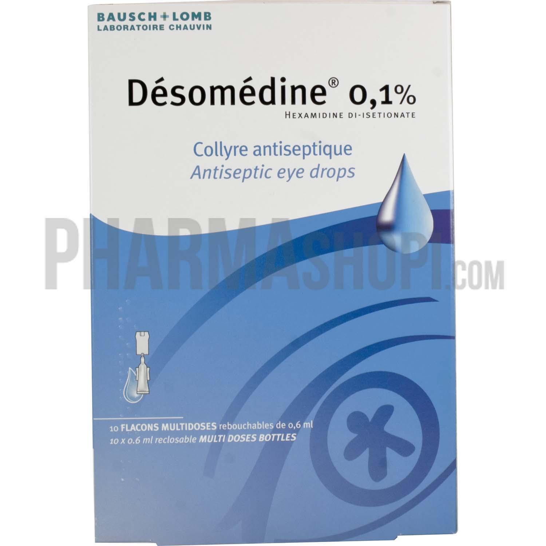 Desomedine 0.1% collyre en flacon, boîte de 10 flacons de