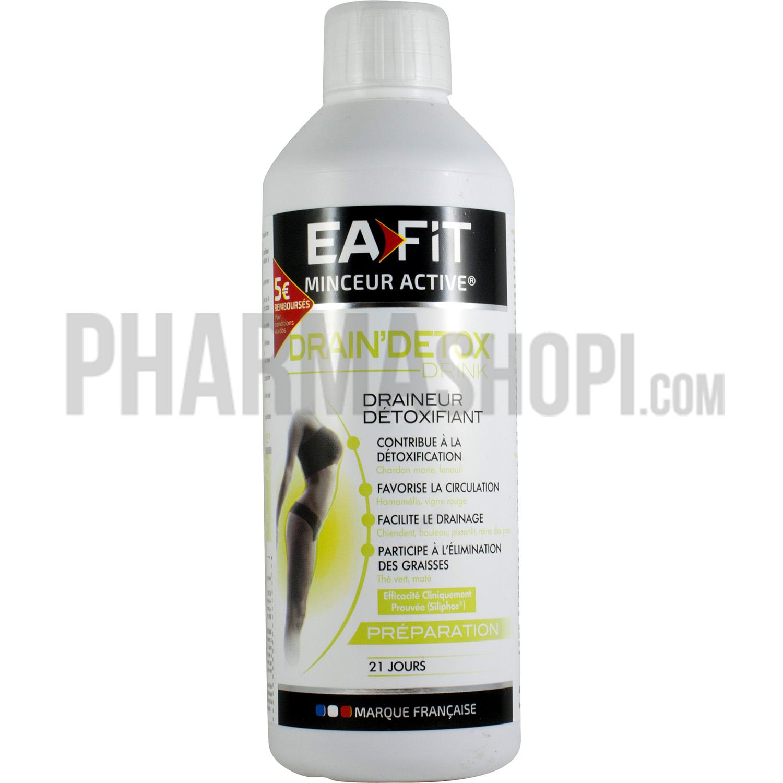 Drain'detox drink draineur détoxifiant EaFit, Flacon de 500 ml