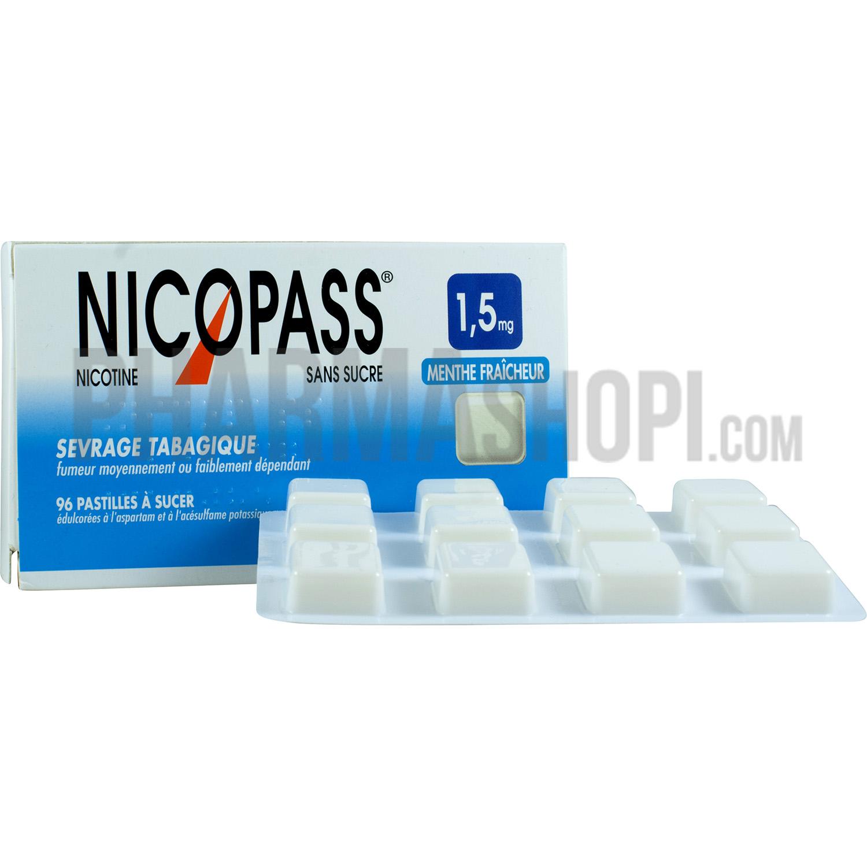 Nicopass sans sucre menthe fraicheur 1,5mg 96 pastilles à ...