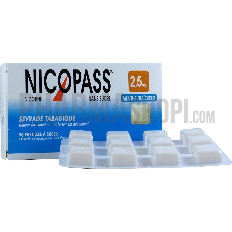 Nicopass menthe fraicheur 2,5mg, boite de 96 pastilles