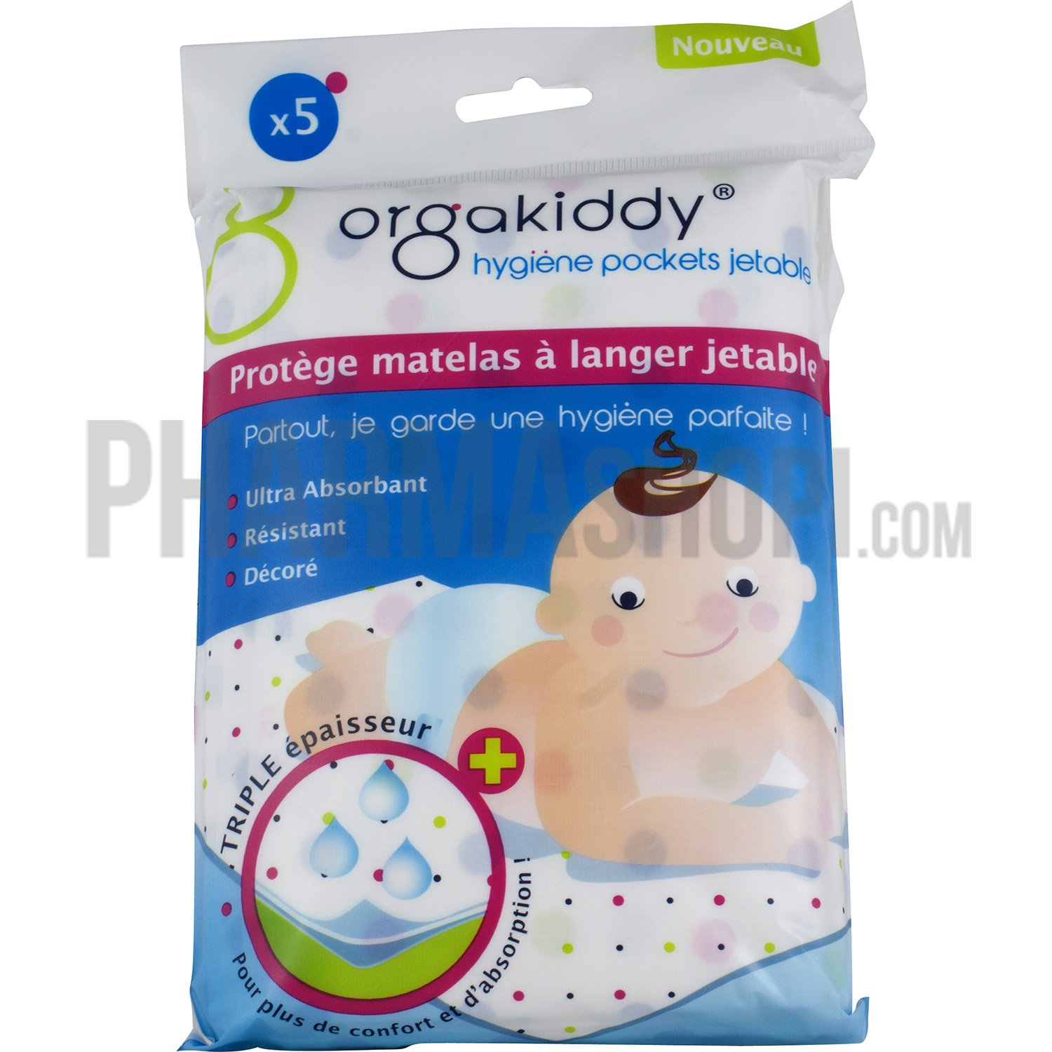 Orgakiddy prot ge matelas langer jetable orgakiddy 5 for Protege matelas bebe