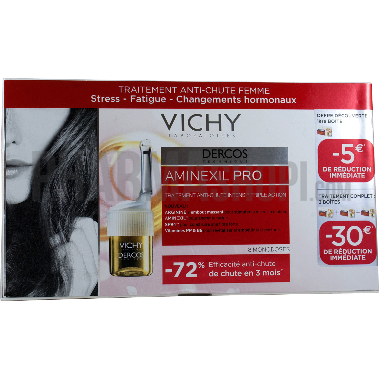 vichy offre dercos aminexil pro femme traitement anti chute vichy bo te de 18 doses. Black Bedroom Furniture Sets. Home Design Ideas